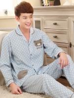 ชุดนอนเกาหลี สีฟ้า ติดกระดุม Teddy ลายจุด เสื้อแขนยาว+กางเกงขายาว