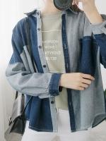 เสื้อแฟชั่นแขนยาวสีน้ำเงิน แต่งแถบสลับสี ดีไซน์กระเป๋าเสื้อ