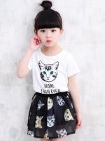 ชุดเด็กแฟชั่นเกาหลี เดรสสั้นสีขาว/ดำ พิมพ์ลายน้องแมวทั้งตัว