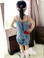 ชุดเดรสสั้นเด็กหญิงเกาหลี สายเดี่ยว สีฟ้า ลาย Kitty น่ารัก แต่งโบว์รอบตัว