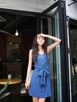 *พร้อมส่ง*ชุดเดรสสั้นสไตล์เกาหลี แขนกุดผ้าชีฟองสีน้ำเงิน เนื้อผ้าลื่น ๆ