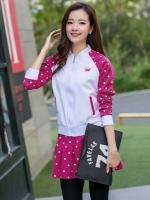 เสื้อกีฬาเกาหลี ชุดเซทเสื้อแขนยาว+กระโปรง แต่งลายจุด มี4สี