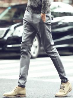 กางเกงขายาวเกาหลี สีเทา แนวลำลอง เรียบสวย
