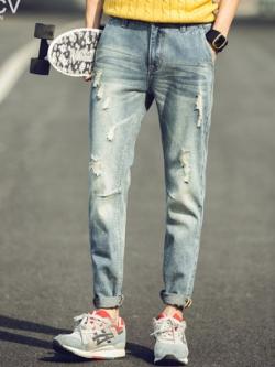 กางเกงยีนส์ขายาวเกาหลี แนวรุ่ยๆ เซอร์ๆ ดีไซส์อินเทรนด์ มี2สี
