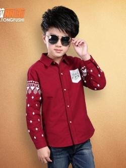เสื้อเชิ้ตแขนยาวเด็กเกาหลี แต่งลายแขนเสื้อ+กระเป๋าเสื้อ มี2สี