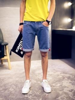 กางเกงยีนส์ขาสั้นเกาหลี แต่งพับขอบ สไตล์วินเทจ เรียบสวย มี2สี