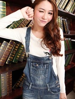 ชุดเอี้ยมขายาวเกาหลี ผ้ายีนส์สีน้ำเงินเข้ม แต่งกระเป๋าหน้าหลัง