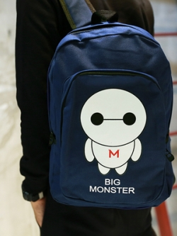 กระเป๋าสะพายหลังเกาหลี แต่งลายมอนสเตอร์น่ารัก ดีไซน์ซิบ2ชั้น มี2สี
