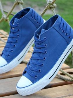 รองเท้าผ้าใบแนวเกาหลี ผูกเชือก ทรงสูง เท่มากครับ <มี7สี>