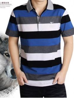 เสื้อโปโลแขนสั้นเกาหลี เล่นลายสลับสี ดีไซส์เท่ มี4สี