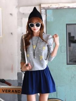เสื้อแฟชั่นเซท2ชิ้นเกาหลี สีเทา/น้ำเงิน เสื้อแฟชั่นแขนยาว+เดรสสั้นแขนกุด