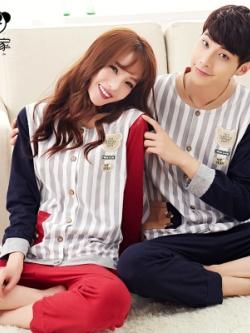 ชุดนอนคู่รักเกาหลี ลายเส้นตรง แต่งแขนเสื้อ เสื้อแขนยาว+กางเกงขายาว
