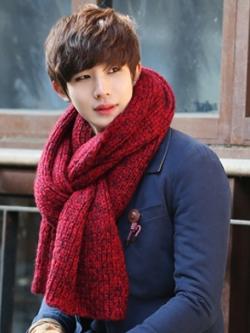 ผ้าพันคอแฟชั่นเกาหลี สีแดง หนานุ่ม ดีไซส์เท่