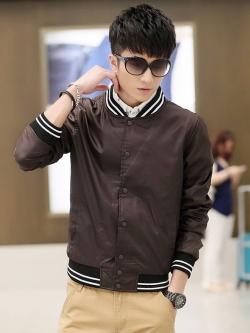 **พร้อมส่ง**เสื้อแจ็คเก็ตแนวเบสบอล คอตั้งแขนยาว แฟชั่นเกาหลี สีน้ำตาล