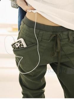 กางเกงฮาเร็มขายาวใส่ลำลองแฟชั่นมีเชือกรูดที่เอว
