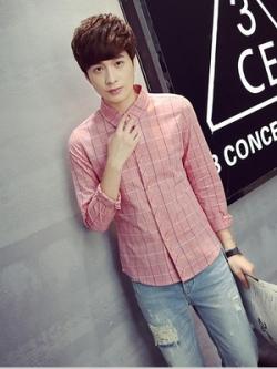 เสื้อเชิ้ตแขนยาวเกาหลี ลายเส้นตาราง เรียบสวย มี4สี