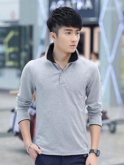 เสื้อโปโลแขนยาวเกาหลี แต่งคอปกตั้ง ดีไซส์สลับสี มี8สี