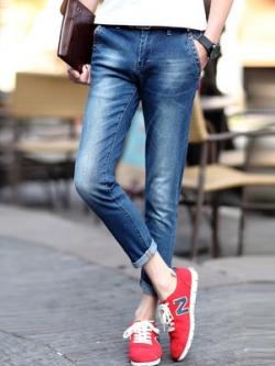 กางเกงยีนส์ขายาวเกาหลี สีน้ำเงิน แต่งลายฟอกสี ทรงSlim