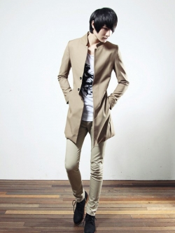 เสื้อโค้ทผู้ชายแขนยาวแนวเกาหลี เท่มากครับ มี2สี