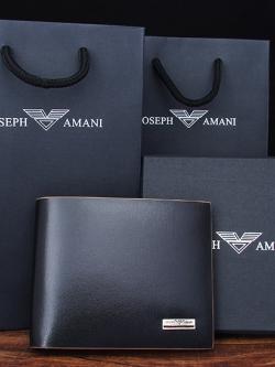 กระเป๋าสตางค์แนวเกาหลี Joseph Amani สีดำ แบบแนวนอน