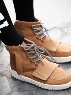 รองเท้าผ้าใบเกาหลี ทรงสูง เชือกผูก แต่งขอบ ดีไซส์แถบปิดรองเท้า มี5สี