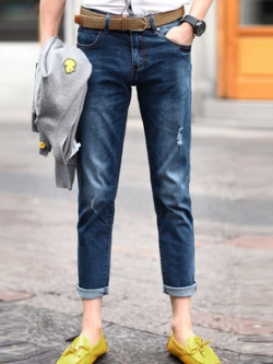 กางเกงยีนส์ขายาวเกาหลี สีน้ำเงิน แต่งผ้าปะ ดีไซส์เท่