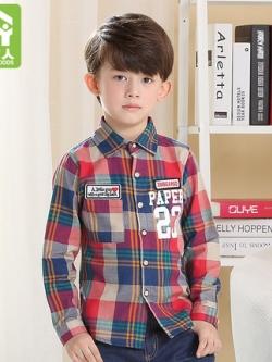 เสื้อเชิ้ตแขนยาวเด็กเกาหลี กำมะหยี่หนาด้านใน ลายสก๊อต แต่งลายอักษร