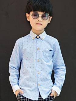 ชุดเด็กชายเกาหลี เสื้อเชิ้ตแขนยาวพิมพ์ลายจุด แต่งกระเป๋าเสื้อ มี4สี