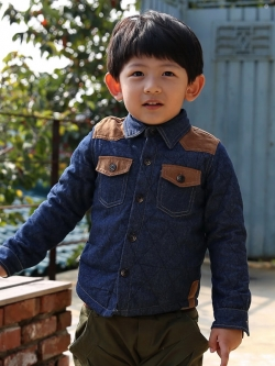 ชุดเด็กชายเกาหลี เสื้อแจ็กเก็ตแขนยาว สีน้ำเงินเข้ม ซับในกำมะหยี่หนา