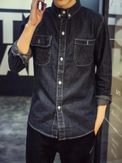 เสื้อแจ็คเก็ตยีนส์เกาหลี แต่งกระเป๋าเสื้อ2ข้าง แนวคาวบอย มี2สี