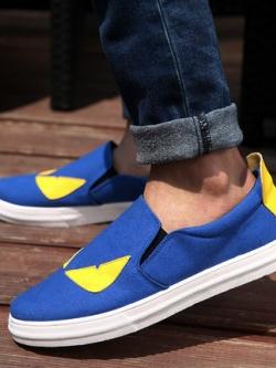 รองเท้าผ้าใบเกาหลี แบบสวม แต่งขอบขาวนูน แนวมอนสเตอร์ มี3สี