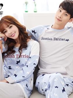 ชุดนอนคู่รักเกาหลี พิมพ์ลายทั้งตัว เสื้อแขนยาว+กางเกงขายาว