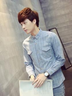เสื้อเชิ้ตแขนยาวเกาหลี ลายเส้นตาราง แต่งกระเป๋าเสื้อ2ข้าง มี4สี