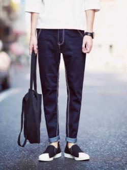 กางเกงยีนส์ขายาวเกาหลี สีน้ำเงิน ขาตรง แต่งขอบ แนวคลาสสิก