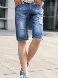 กางเกงยีนส์ขาสั้นเกาหลี สีน้ำเงิน แต่งผ้าปะ ดีไซส์รุ่ยๆ