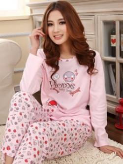 ชุดนอนลาย Home แขนยาวมีกระเป๋าที่ตัวเสื้อ+กางเกงลายขายาว สไตล์การ์ตูนน่ารักเกาหลี