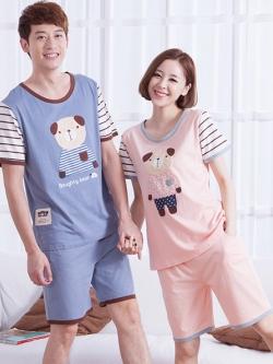 ชุดนอนคู่รักเกาหลี พิมพ์ลายหมี แต่งแขนเสื้อ เสื้อแขนสั้น+กางเกงขาสั้น