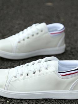 รองเท้าผ้าใบผูกเชือกเกาหลี แต่งขอบ หนังPU มี2สี