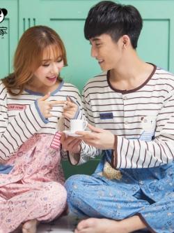ชุดนอนคู่รักเกาหลี พิมพ์ลายหมี แต่งลายขวาง เสื้อแขนยาว+กางเกงขายาว