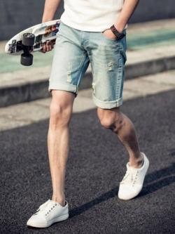 กางเกงยีนส์ขาสั้นเกาหลี แต่งผ้าปะ ดีไซส์พับขอบ มี2สี