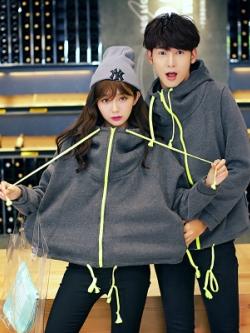 ชุดคู่รักเกาหลี เสื้อคลุมตัวหลวม แต่งเชือกผูกสีสันสดใส มีฮู้ด มี2สี