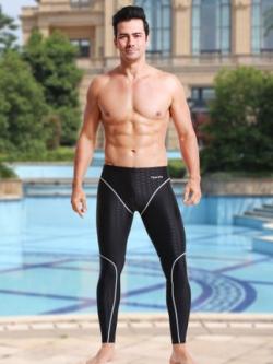 กางเกงว่ายน้ำชายเกาหลี ขายาว สีดำ แต่งลายคลื่นลูกศร+เส้นคาดรอบตัว