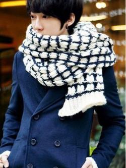 ผ้าพันคอลายสก๊อตแนวเกาหลี เป็นผ้าขนสัตว์ <มี2สี>