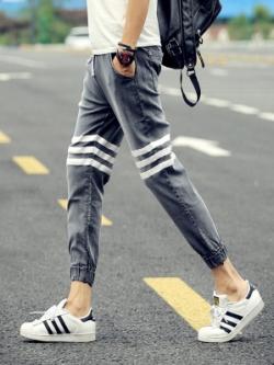 กางเกงขายาวญี่ปุ่น สีตามรูป แนวฮาเร็ม ทรงSlim แต่งแถบ2ข้าง จั้มปลายขา