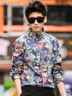**พร้อมส่ง** เสื้อเชิ้ตแขนยาวเกาหลี สีตามรูป พิมพ์ลายการ์ตูนทั้งตัว ดีไซน์เท่