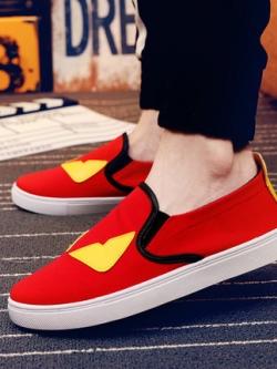 รองเท้าผ้าใบเกาหลี แบบสวม แต่งขอบลายเส้นดำ แนวมอนสเตอร์ มี3สี