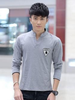 เสื้อยืดแขนยาวเกาหลี แต่งคอปกV โลโก้ LAMBORGHINI มี3สี