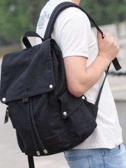 กระเป๋าสะพายหลังเกาหลี ดีไซน์ฝาปิดกระเป๋า แต่งช่องเก็บของ มี3สี