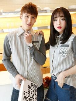 ชุดคู่รักเกาหลี เสื้อเชิ้ตแขนยาว แต่งลายเส้นตรง ดีไซน์แขนเสื้อ มี2สี