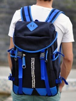 กระเป๋าสะพายหลังเกาหลี สีดำ/น้ำเงิน เรียบสวย